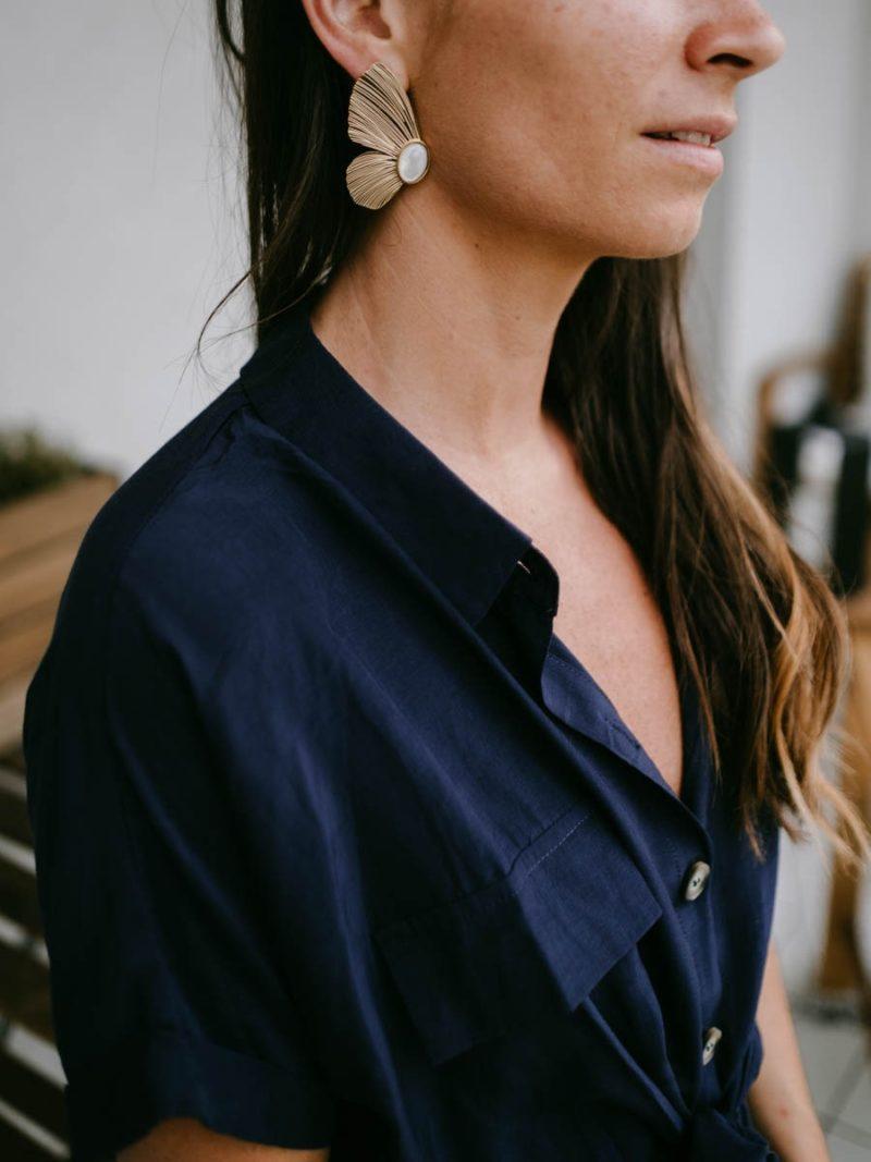 Boucles d'oreilles acier inoxydable nacre