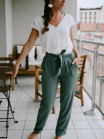 Pantalon AUGUSTE Vert sauge