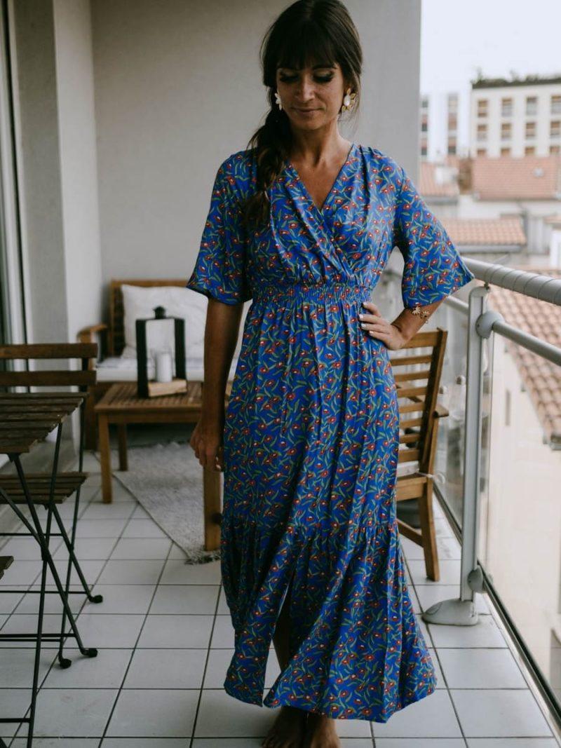 Robe longue à motif coquelicot
