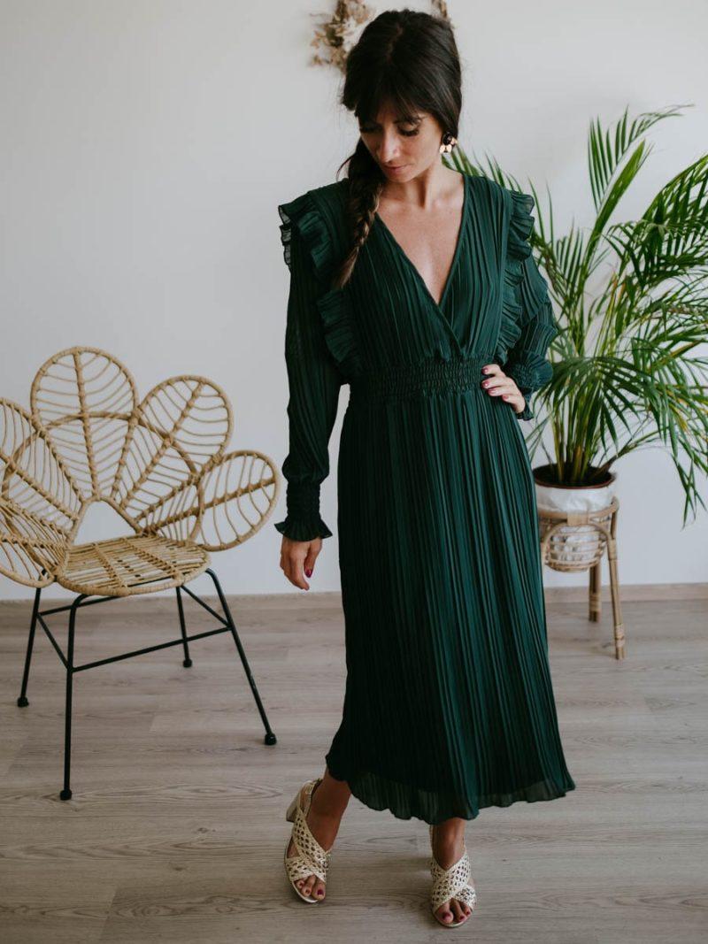 Robe midi plissée et verte