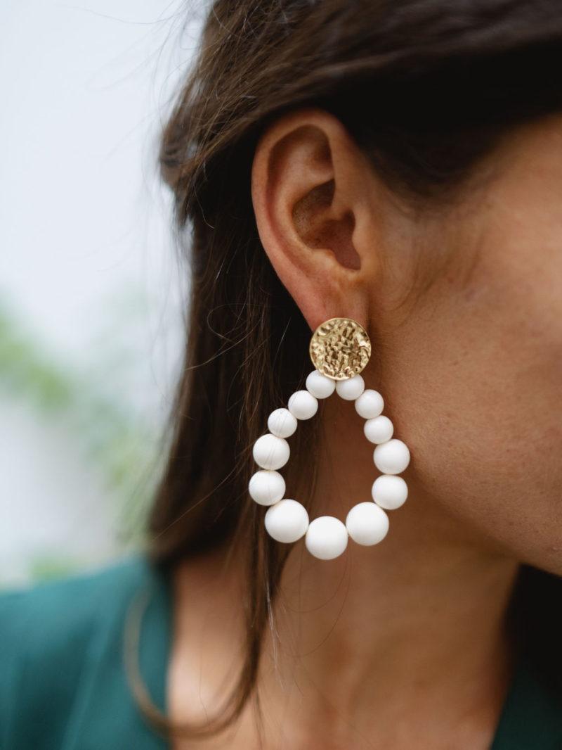 boucles d'oreilles perle beige