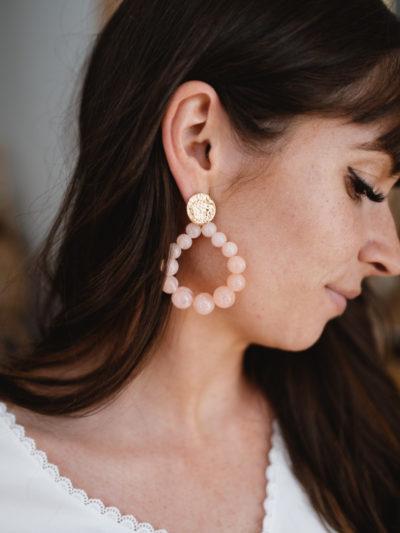 Boucles d'oreille PERLE Rose
