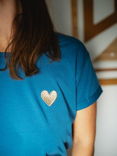 T-SHIRT COEUR bleu canard